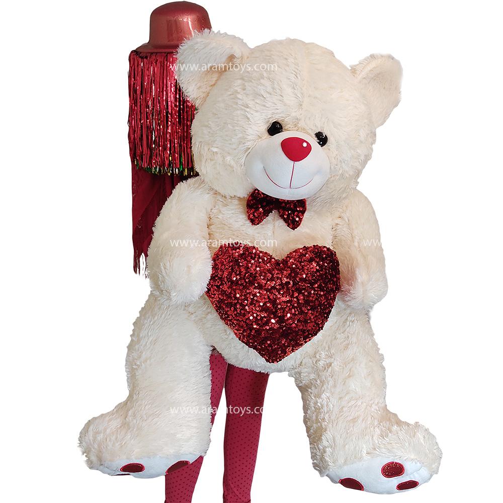 عروسک خرس بزرگ پشمالو سفید قلب بدست