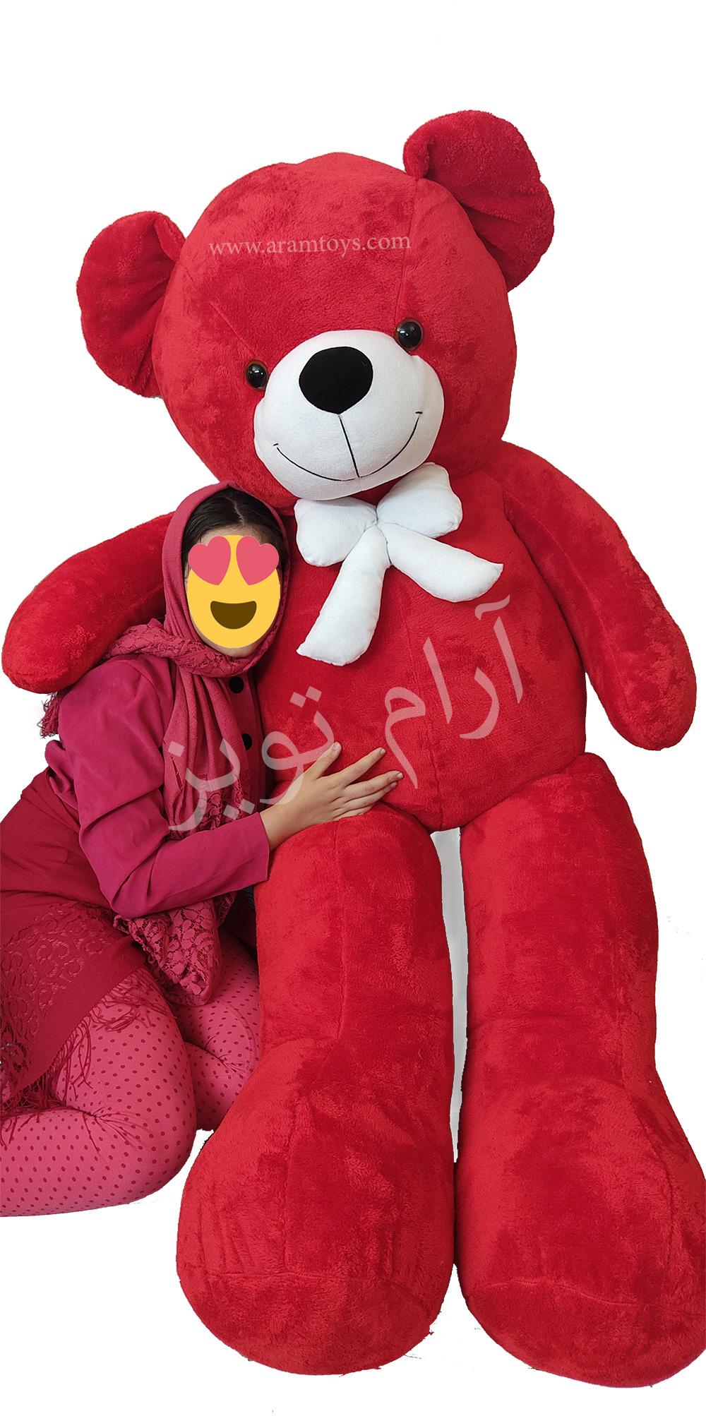 خرس عروسکی ۲ متری قرمز رنگ