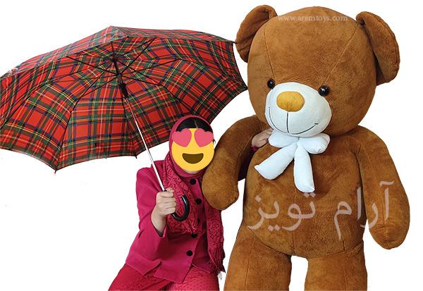 عروسک خرس بزرگ پولیشی 2 متری به رنگ قهوه ای