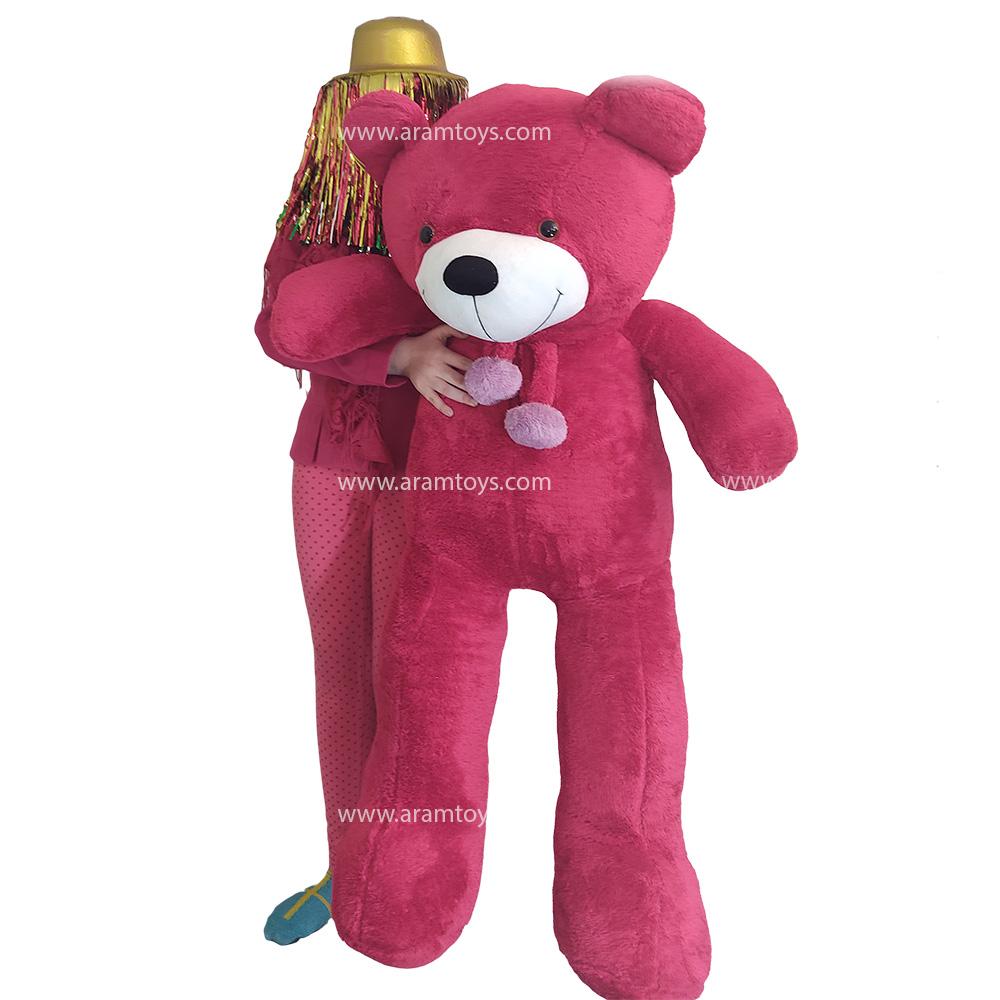 تصویر عروسک خرس بزرگ قرمز